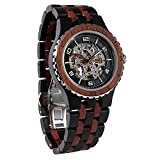 Wilds Wood Watches Premium Eco Self-Winding Wooden Wrist Watch For Men, Natural Durable Handcrafted Gift Idea for Him (Ebony and Rosewood)