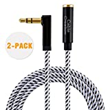 90 headphone jack - CableCreation [2-PACK] 3 Feet 3.5mm Male to Female Extension Stereo Audio Extension Cable Adapter, 90 Degree Right Angle Aux Cable, Black and White