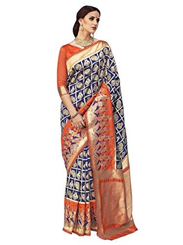 ELINA FASHION Sarees for Women Banarasi Art Silk Woven Saree l Indian Wedding Wear Sari (Blue)