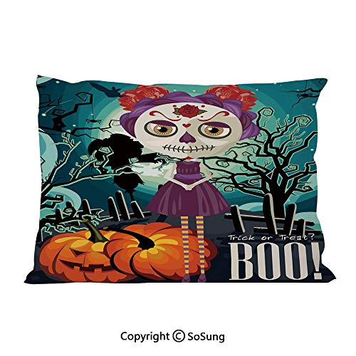 Halloween Bed Pillow Case/Shams Set of 2,Cartoon Girl with Sugar Skull Makeup Retro Seasonal Artwork Swirled Trees Boo Decorative Queen Size Without Insert (2 Pack Pillowcase 30