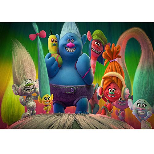 7x5ft Trolls Happy Birthday Backdrop Seamless Photography Background Rainbow Backdrop Vinyl Cartoon Photographic Backgrounds Baby Shower Party Picture Decor ()