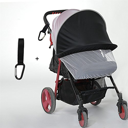 baby stroller sunshade With Mosquitoes Net, Picowe Baby Stroller Sun Shade & Mosquito Net Baby Stroller Shade Cover Sun Shade Cover Sleep Aid with UV Protection Sun for Pushchairs and Strollers(Black) by Picowe