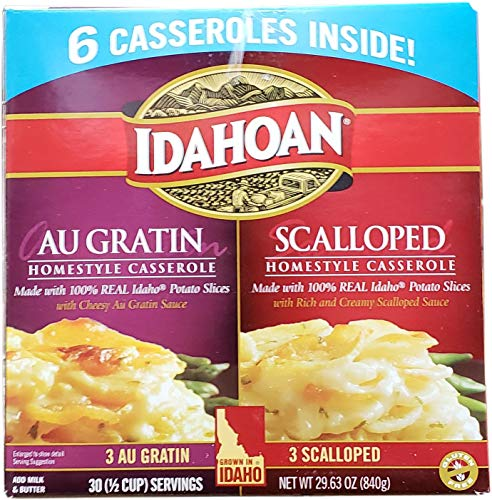 Idahoan Au Gratin and Scalloped Homestyle Casserole Potatoes, Made with Naturally Gluten-Free 100% Real Idaho Potatoes, Combo Pack of 6 Boxes (30 Servings)