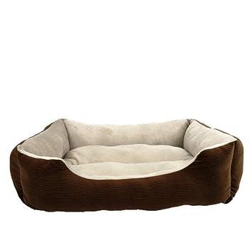 Wuwenw Cama para Mascotas Mascotas Suministros Caramelo Color Cuadrado Teddy Kennel Otoño E Invierno Cálido Mascota Nido Perro Cama Arena para Gatos, ...