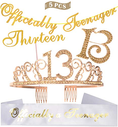 - 13th Birthday Decorations Party Supplies | Gold 13th Birthday Tiara | 13th White Satin Sash Officially a teenager | Gold Glittery Officially Teenager Banner | Thirteen Cake Topper | 13 Golden Rhinestone Brooch | for 13th Birthday Party Supplies and Decorations