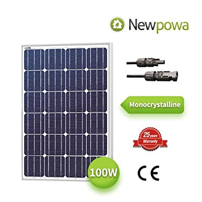 Newpowa Mono 100W Watt 12V Solar Panel High Efficiency Module Rv Marine Boat Off Grid Monocrystalline