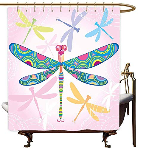 - SKDSArts Shower Curtains for Bathroom Mermaid Dragonfly,Decorative Vibrant Dragonfly Kids Figure in Various Tones Wildlife Graphic Art,Multicolor,W36 x L72,Shower Curtain for Kids