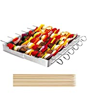 Unicook Heavy Duty Stainless Steel Barbecue Skewer Shish Kabob Set, 6pcs Skewer Sticks and Grill Rack Set for Meat & Vegetables, Bonus of 50pcs 12.5 inch Bamboo Skewers, No mess for Your Grill