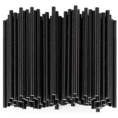 [500 Pack] 100% Biodegradable Paper Sip Stirrers/Straws - Black - For Cocktail & Coffee