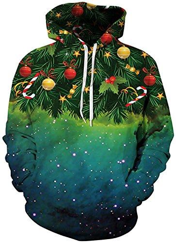 ZNLISA Womens 3D Printed Hooded Hoodies Casual Sweatshirt Unisex Pullover Christmas TreeLarge/X-Large Trend (Christmas Women's Jumpers Asos)
