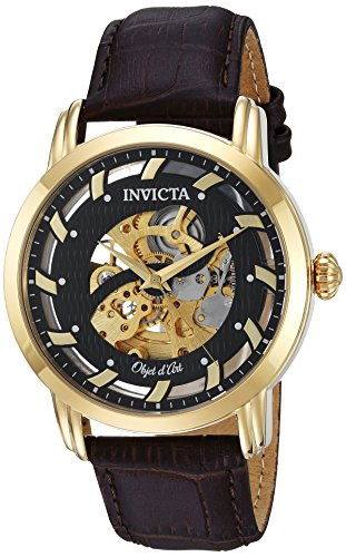 Men's Objet D Art Automatic-self-Wind Watch with Leather Calfskin Strap, Brown, 20 (Model - Invicta 22634