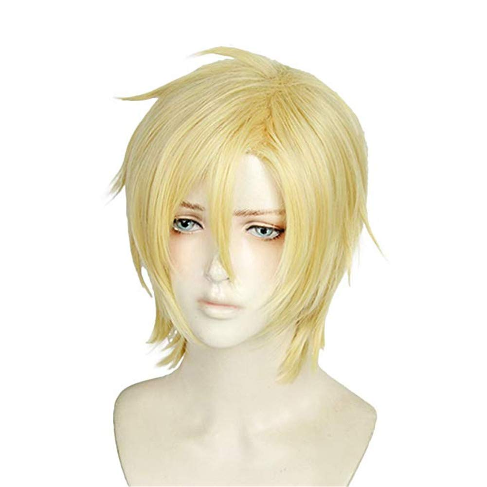 Amazon Com Xingwang Queen Anime Cosplay Wig Short Straight Blonde Hair Halloween Christmas Party Wigs For Men Boys Beauty