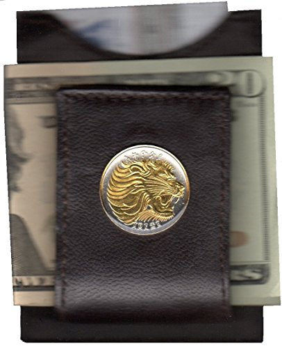 Money Gold Silver on Gorgeous Coin 2 clips Folding Lion Ethiopia Toned Uwqxz4