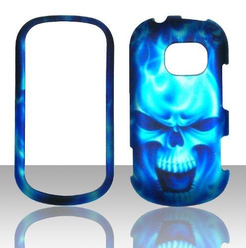 Lg Extravert Vn271 Rubber - 2D Blue Skull LG Extravert Vn271 Verizon Case Cover Hard Case Snap-on Case Cover Rubberized Frosted Matte Surface Hard Shells