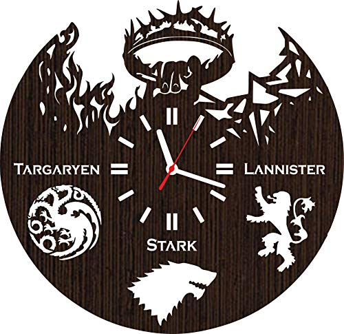 Wooden Wall Clock Game of Thrones Gifts for Men Women Kids Boys Girls Birthday Christmas Wedding Party Decorations Stark Lannister Targaryen Baby Shower Supplies Vinyl Poster Accessories Collectibles