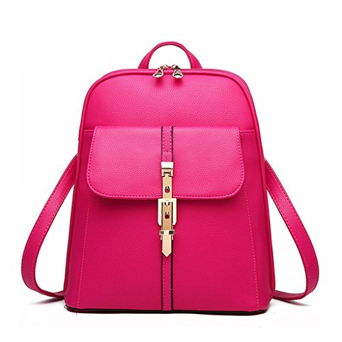 Tiny Chou Candy Colors PU Leather Backpack for College Schoolbag Book Bag Plum