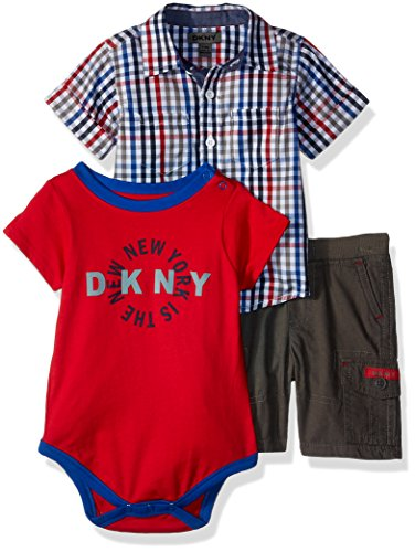 DKNY Baby Boys Knit Sport Shirt and Short Set, High Risk Red-Kbcc, 0-3 Months - Dkny Kids
