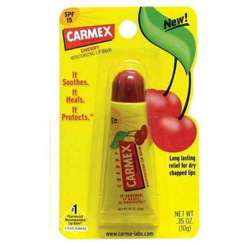 Flavored Spf 15 Lip Balm (Carmex Cherry Flavored Lip Balm SPF 15 Tube .35 Ounces 12/Box)