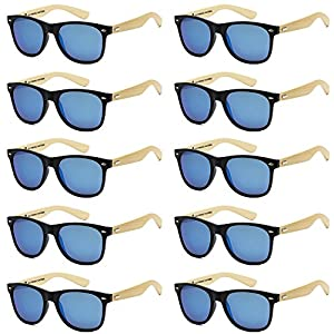 WHOLESALE BAMBOO ECO FRIENDLY MODERN RETRO 80'S CLASSIC SUNGLASSES - 10 PACK (Matte Black | Ice Blue, 52)