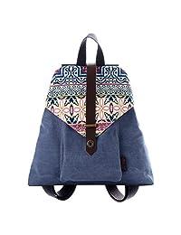DouGuYan Women's and Girl Lightweight Rucksack Retro Print Stitching Classic Cotton Canvas Leisure Daypack Cute Backpacks