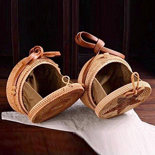 bandoulière à Sac rétro bandoulière usage Brand double New circulaire tissé sac de forme bandoulière plage sac sac motif de en rotin à étoilé voyage qEXUfw5x