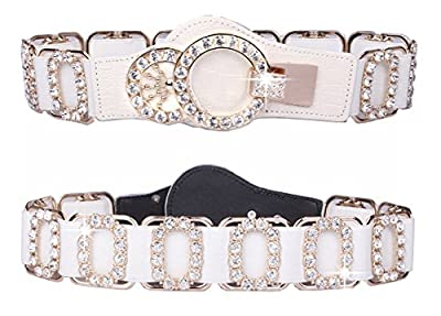Spatart Luxury Leather Stretch Belts for Women Rhinestone Elastic Waist Belt