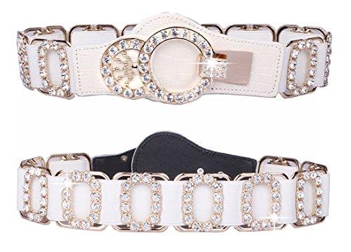 White Leather Rhinestone - Spatart Luxury Leather Stretch Belts for Women Rhinestone Elastic Waist Belt