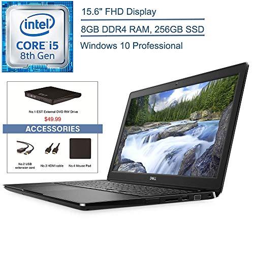 2020 Dell Latitude 3500 15.6″ FHD Business Laptop Computer, 8th Gen Intel Quad-Core i5-8265U (beat i7-7500U), 8GB DDR4 RAM, 256GB SSD, 802.11ac WiFi, Windows 10 Pro, EST USB External DVD + Accessories