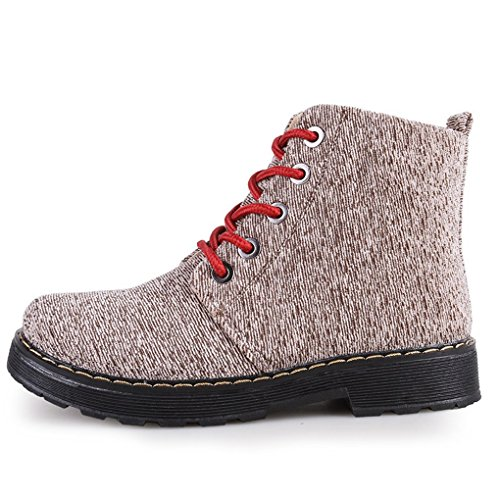 CYBLING Fashion Women Round Toes Ankle Booties Casual Outdoor Hiking Walking Lace Up Low Heels Shoes Brown