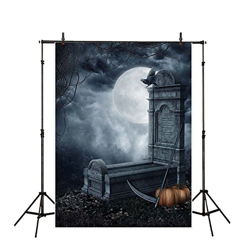 Allenjoy 5x7ft Polyester Grave of the Grim Reaper in Full-moon Night Party Backdrop Children Background for Halloween (Tombstone Epitaphs Halloween)