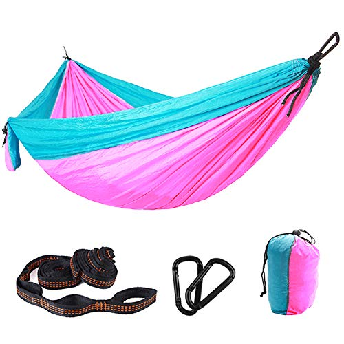 Purjoy Camping Hammock Single & Double Portable Hammocks with 2 Tree Straps (36 Loops/20 Ft Total),Lightweight Nylon Parachute Hammocks for Backpacking,Travel,Beach,Backyard,Patio,Hiking(Brown/Black2)