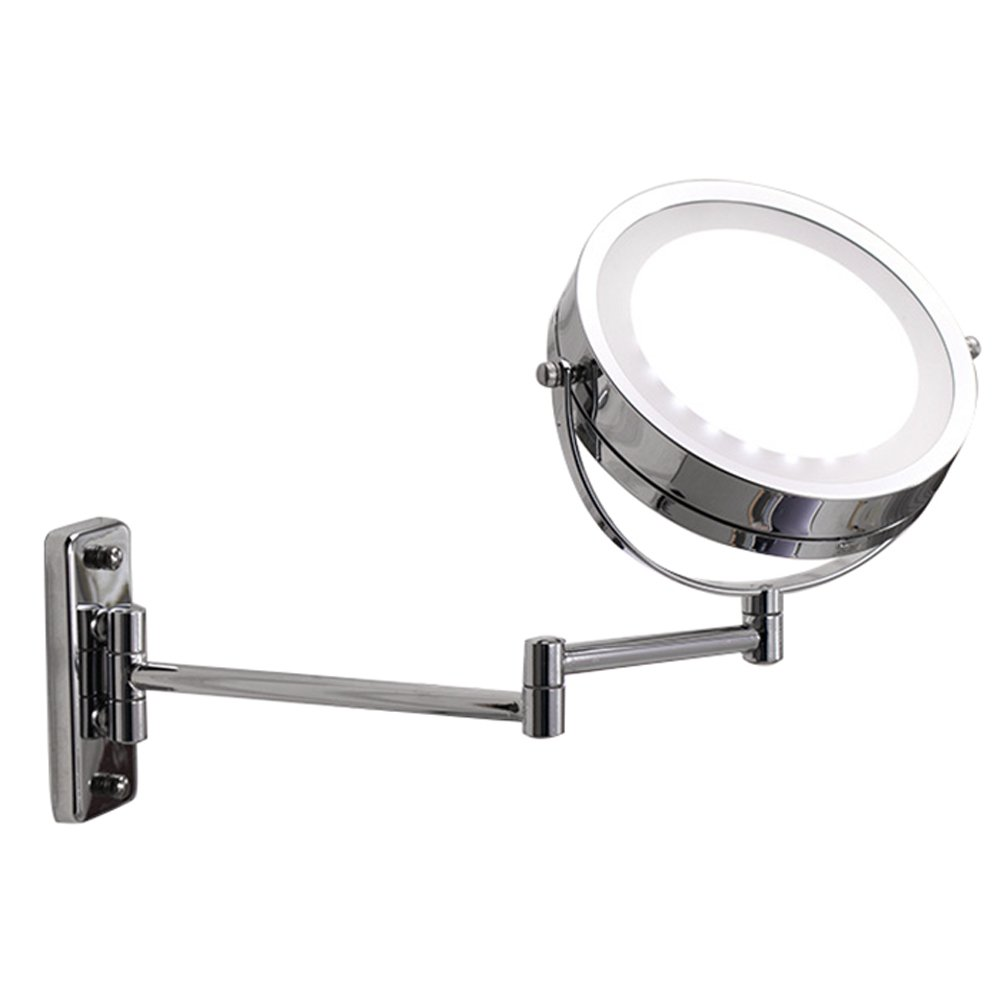 Pevor LED bathroom mirror Makeup Mirror Dual Arm Extend 2-Face Makeup Mirror Equipped Metal Round Wall Mirror Hotel Home Make-up Mirror