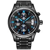 SONGDU Date Black Military Multifunction Chronograph Mens Watches Stainless Steel Luminous Blue Numerals