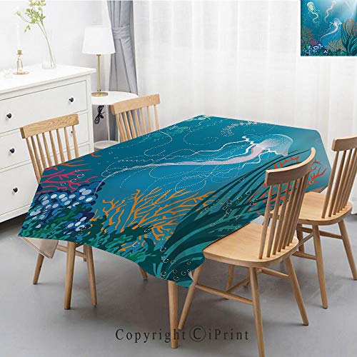 Natural Cotton Linen Rectangle Tablecloth Garden Botanic Print Pattern Country Rustic Village Burlap Table Cover Cloth Art,55x79 Inch,Aquarium,Artistic Jellyfishes Swimming Under the Sea Coral Reef Pl ()