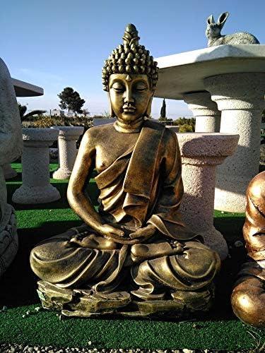 DEGARDEN AnaParra Figura Decorativa Buda del Amor Decorativa para Jardín o Exterior Hecho de hormigón-Piedra Artificial | Figura Buda Grande de 73cm, Color Metálico: Amazon.es: Jardín