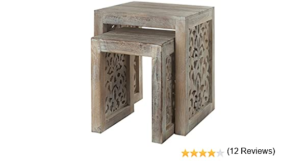 Amazon.com: Maharaja Nesting Tables, NESTING TBLS/2, SANDBLASTED WHITE:  Kitchen U0026 Dining