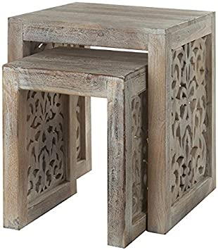Good Maharaja Nesting Tables, NESTING TBLS/2, SANDBLASTED WHITE