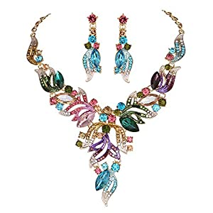 Youfir Rhinestone Crystal Prom Necklace and Earrings Jewelry Sets for Women