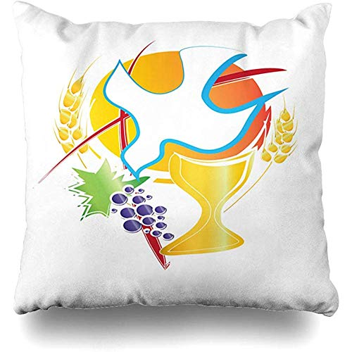 Throw Pillows Cover Cushion Cases Eucharist Symbol Chalice Holy Spirit Dove Grapes Wheat Cross First Communion Abstract Home Decor Pillowcase Square 18 x 18 - Cross Communion Wheat First