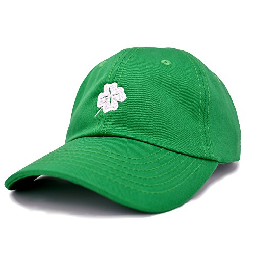 DALIX Four Leaf Clover Hat Baseball Cap St. Patrick's Day Cotton Caps Kelly Green