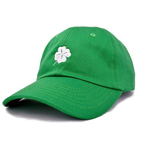DALIX Four Leaf Clover Hat Unisex Baseball Cap St Patricks Day Cotton Soft Caps Kelly Green