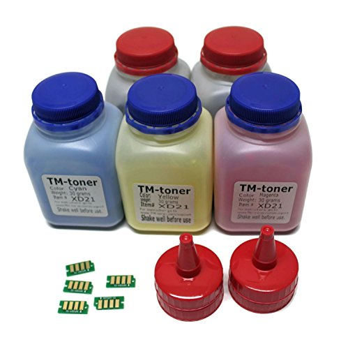 TM-toner Compatible 5 Color Toner Refill kit with Chips for use in Xerox Phaser 6022 6022/NI Wireless Color Photo Printer, Xerox WorkCentre 6027, 6027/NI 106R02759 106R02756 106R02757 106R02758 ()