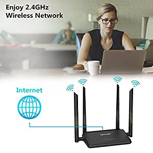 MECO WiFi Router, N300 Wireless Wi-Fi Router with Smart APP and 4x5dBi Antennas, Free Parental Controls, Good for Small House and Office
