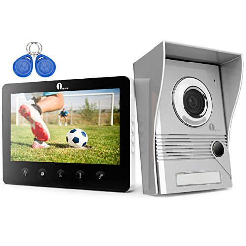Door Entry Intercom - 1byone Aluminium Video Door Phone Doorbell Intercom Entry System, 7-inch Color Monitors IR Night Version, Adjustable HD Camera Angle and RF ID Cards for Convenient Opening Doors