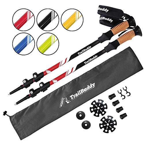 Trekking Pole Accessory - TrailBuddy Walking Poles - 2-pc Pack Collapsible Trekking or Hiking Sticks - Strong, Lightweight Aluminum 7075 - Quick Adjust Flip-lock - Cork Grip, Padded Strap - Free Bag, Accessories (Beetle Red)