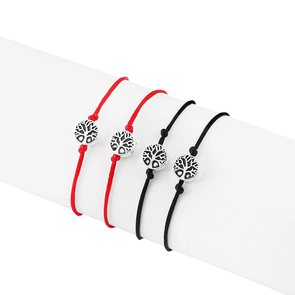Adjustable Tree of Life 4Pcs Braided Charm Bracelet for Women,Men,Kids Handmade Wish Bracelets with Thank You Card LEMONTree Friendship Bracelets Exquisite Envelope