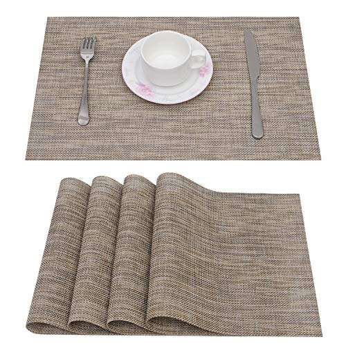 jiudichuanqi Placemat Set of 6 Non-Slip Washable Place Mats,Heat Resistant Kitchen Tablemats for Dining Table (Green Gold)