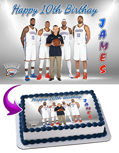 Oklahoma City Thunder, Paul George, Russell Westbrook, Carmelo Anthony Edible Cake Image Personalized Toppers Icing Sugar Paper A4 Sheet Edible Frosting Photo Cake Topper 1/4 (Printed Paul)