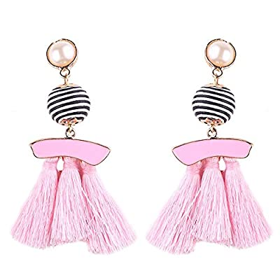 Fashion Bohemian Bead Fringe Long Dangle Earrings Soriee Drop Earrings Beaded Tassel Ear Drop Studs