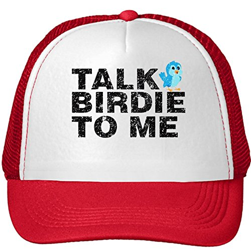 Unisex Talk Birdie to Me - Funny Golf Pun Adjustable Cap One Size Red Hat (Funny Golf Hat)